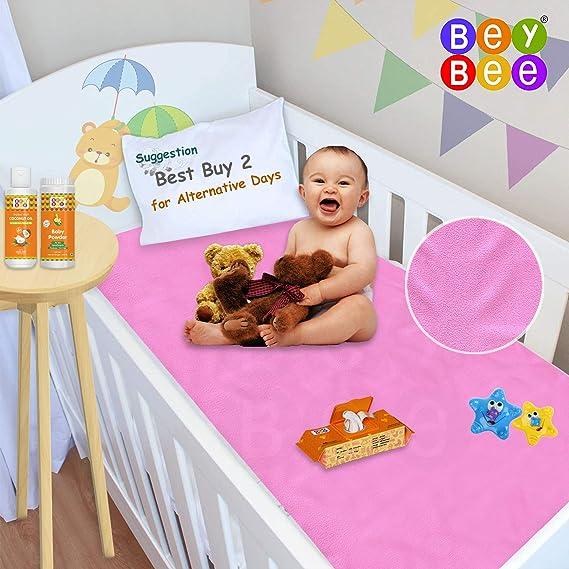 Bey Bee Just Dry Waterproof Bed Protector Sheet - Medium (Pink)