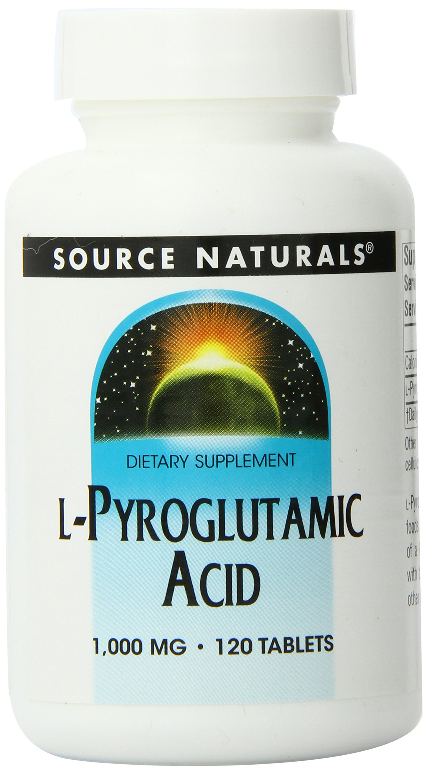 Source Naturals L-Pyroglutamic Acid, 1000mg, 120 Tablets (Pack of 12)