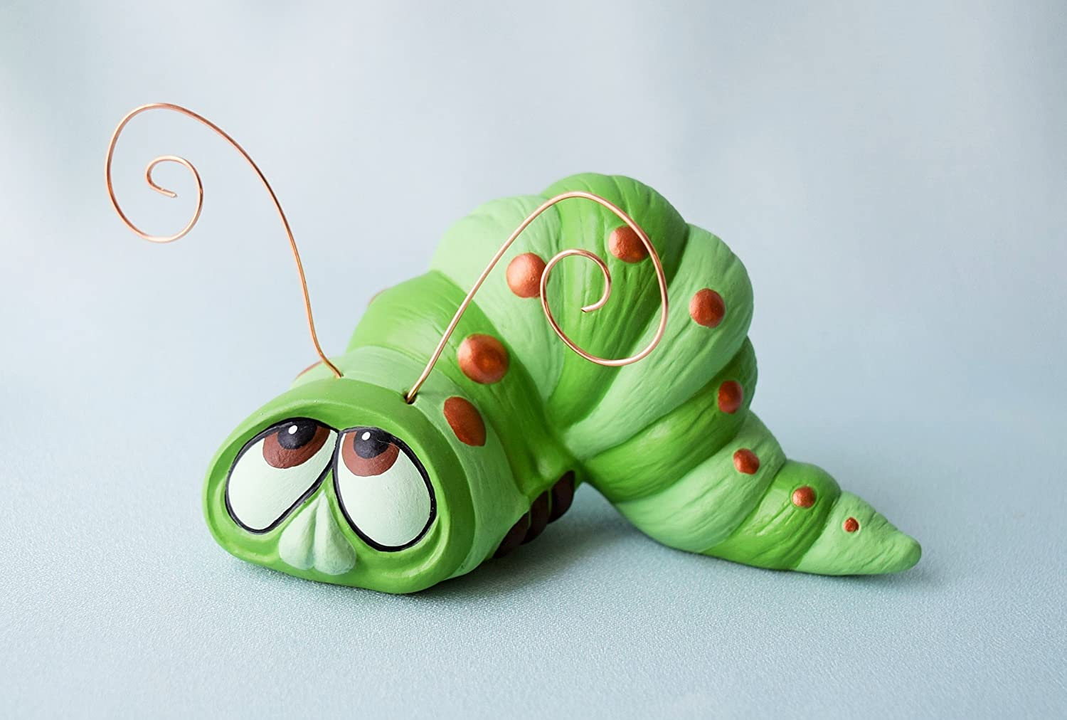 Ceramic Worm Figurine Yard Art