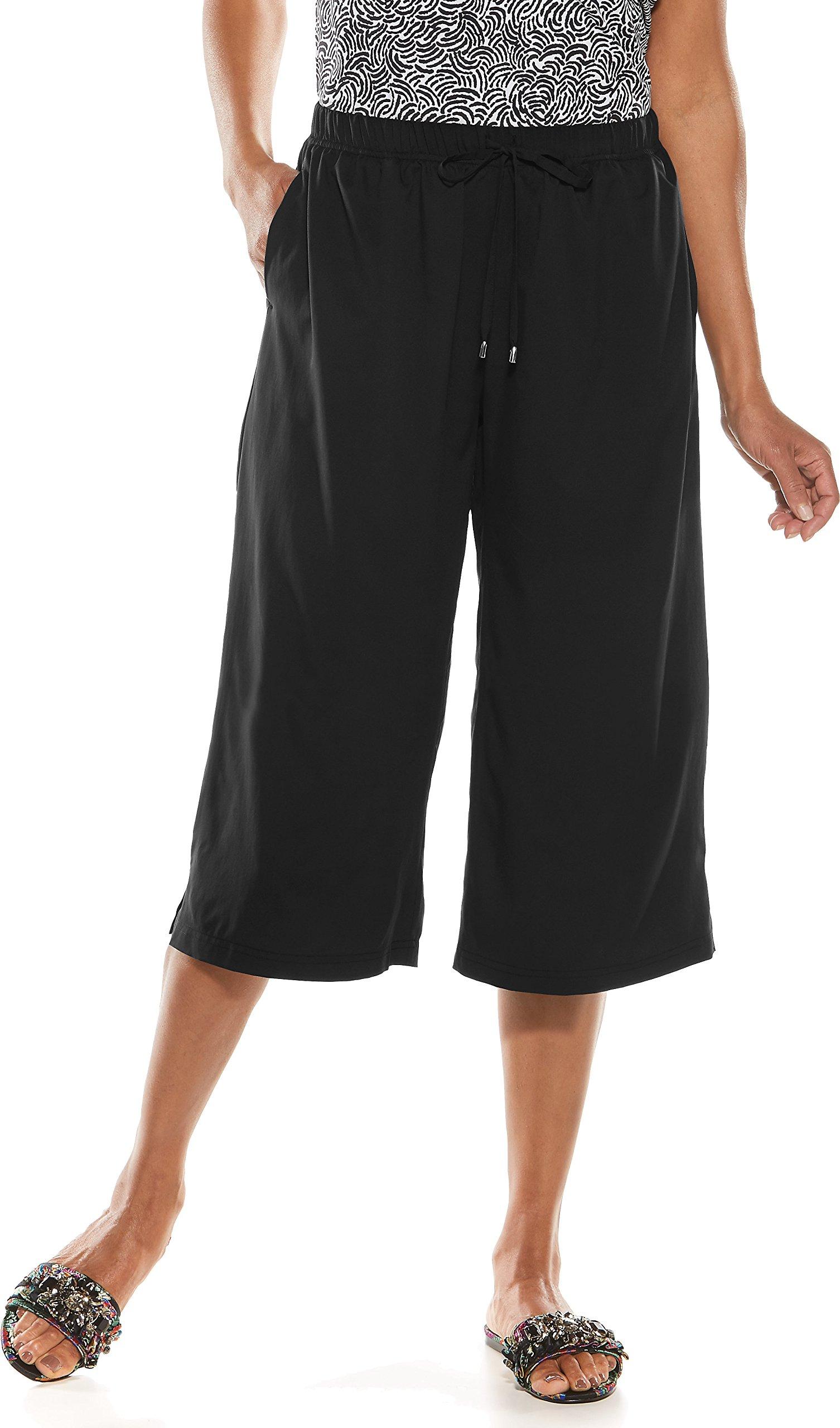 Coolibar UPF 50+ Women's Wide Leg Cortona Culotte - Sun Protective (Small- Black)