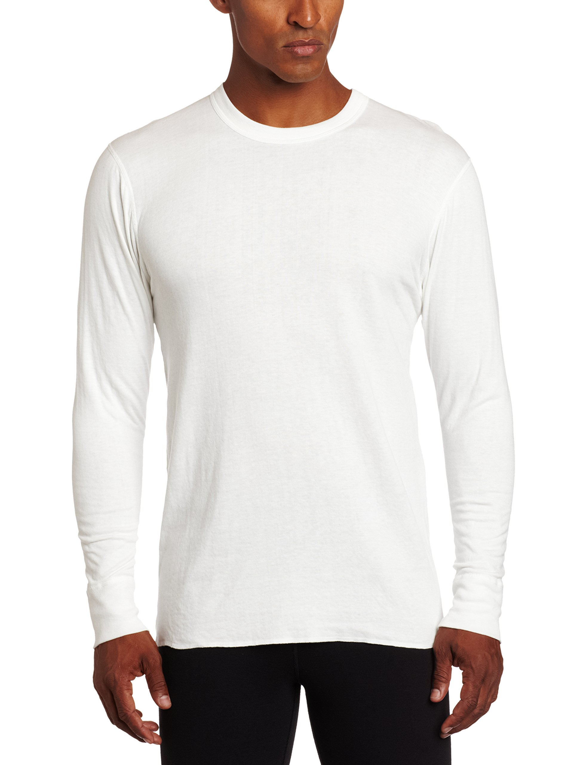 Duofold Men's Mid Weight Wicking Crew Neck Top, Winter White, Large