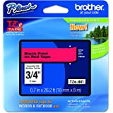 """Brother P-touch Genuine TZe-441, ~3/4"""" (0.7"""") Black on Red Standard Laminated Tape –26.2 ft(8m) (TZE441)"""