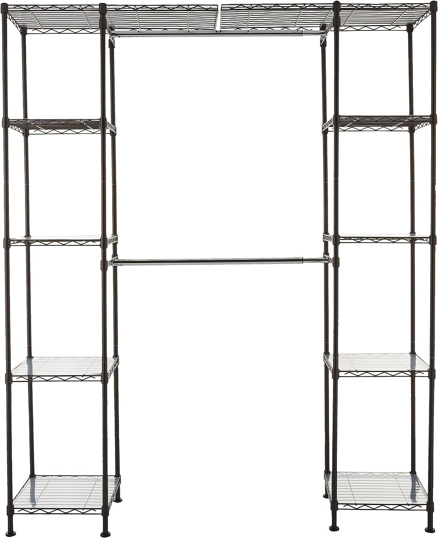 "AmazonBasics Expandable Metal Hanging Storage Organizer Rack Wardrobe with Shelves, 14""-63"" x 58""-72"", Bronze"