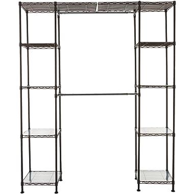AmazonBasics Expandable Metal Hanging Storage Organizer Rack Wardrobe with Shelves, 14 -63  x 58 -72 , Bronze