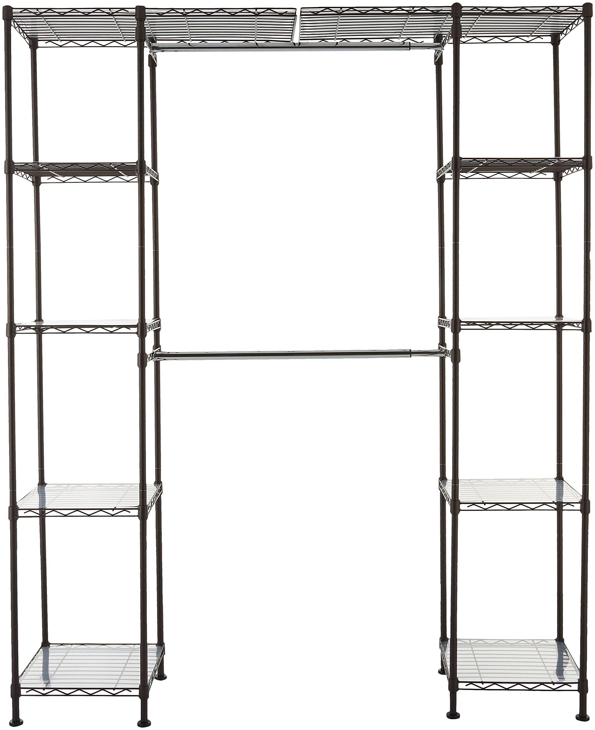 AmazonBasics Expandable Closet Organizer - 14'' x 58'' Expands to 63'' x 72'', Bronze