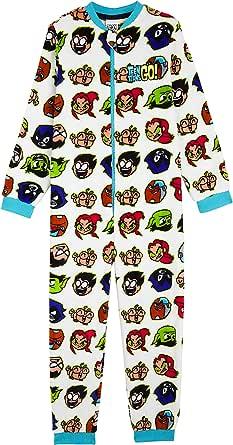 Teen Titans Go! Pijama Niño de Una Pieza, Pijamas Enteros de Superheroes, Merchandising Oficial Regalos Originales para Niños Niñas Adolescentes 4-14 Años