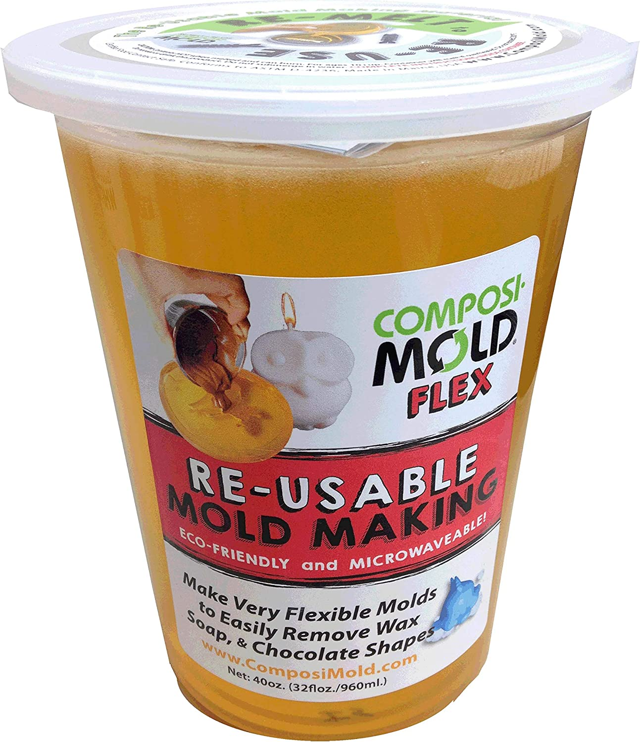 ComposiMold Flex Food Contact Safe Molding Gel 40 Ounce Re-usable Molding Material, Reheat To ReUse