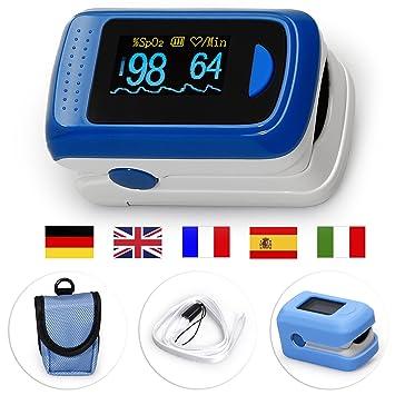 MedX5 OLED Pulsioximetro de Dedo, pulsómetro, oxímetro, medidor de ...