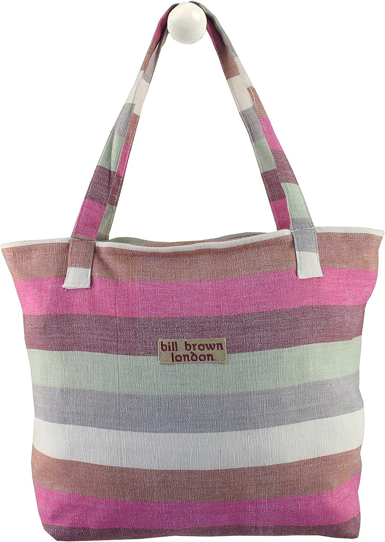 Bill Brown London - Bolsa de Compras de Algodón con Diseño de Rayas Blancas y Rosas con Parte Superior de Cremallera: Amazon.es: Ropa y accesorios