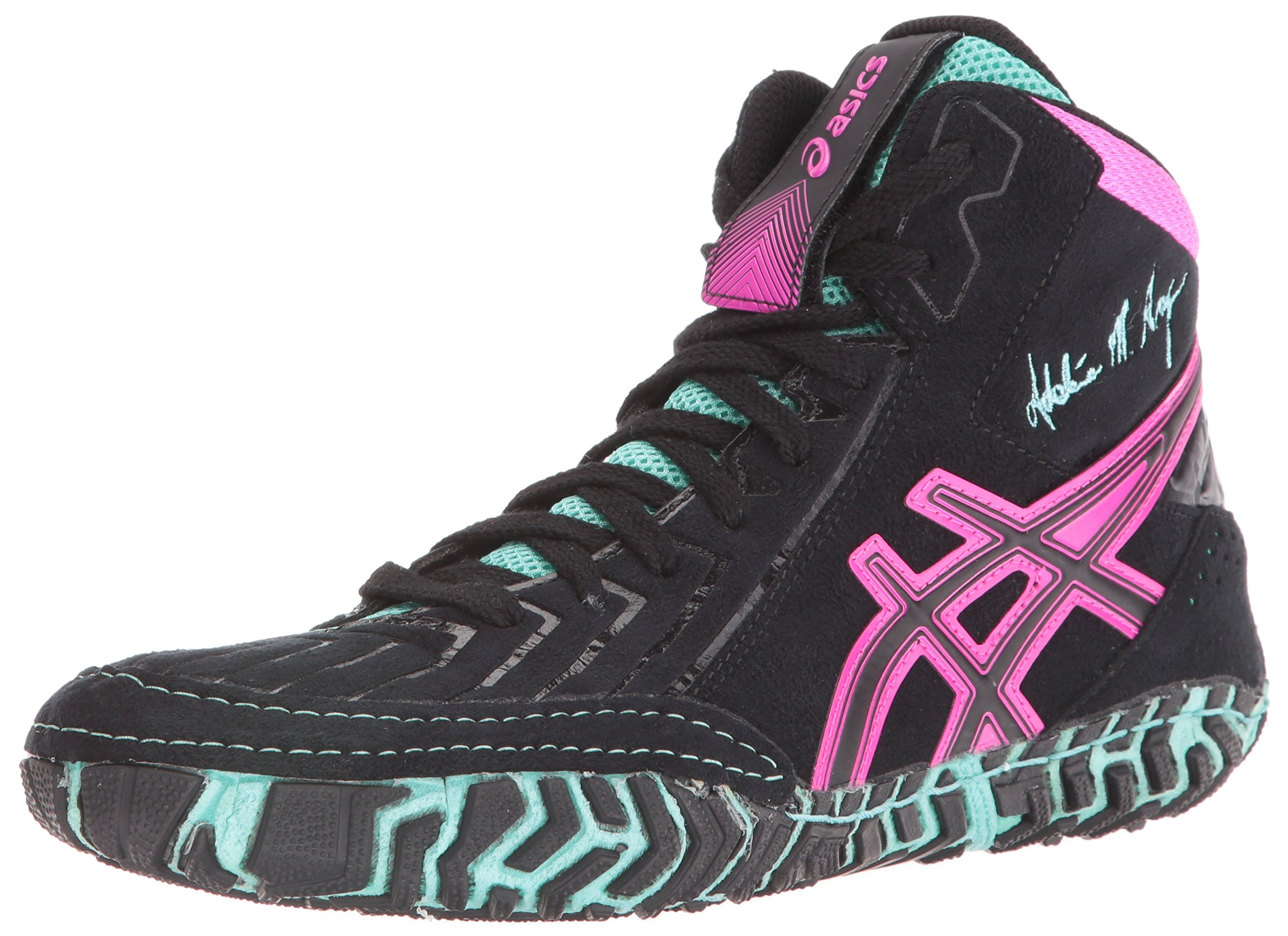 ASICS Men's Aggressor 3 L.E. AG Wrestling Shoe, Black/Onyx/Pink Glow, 6 M US