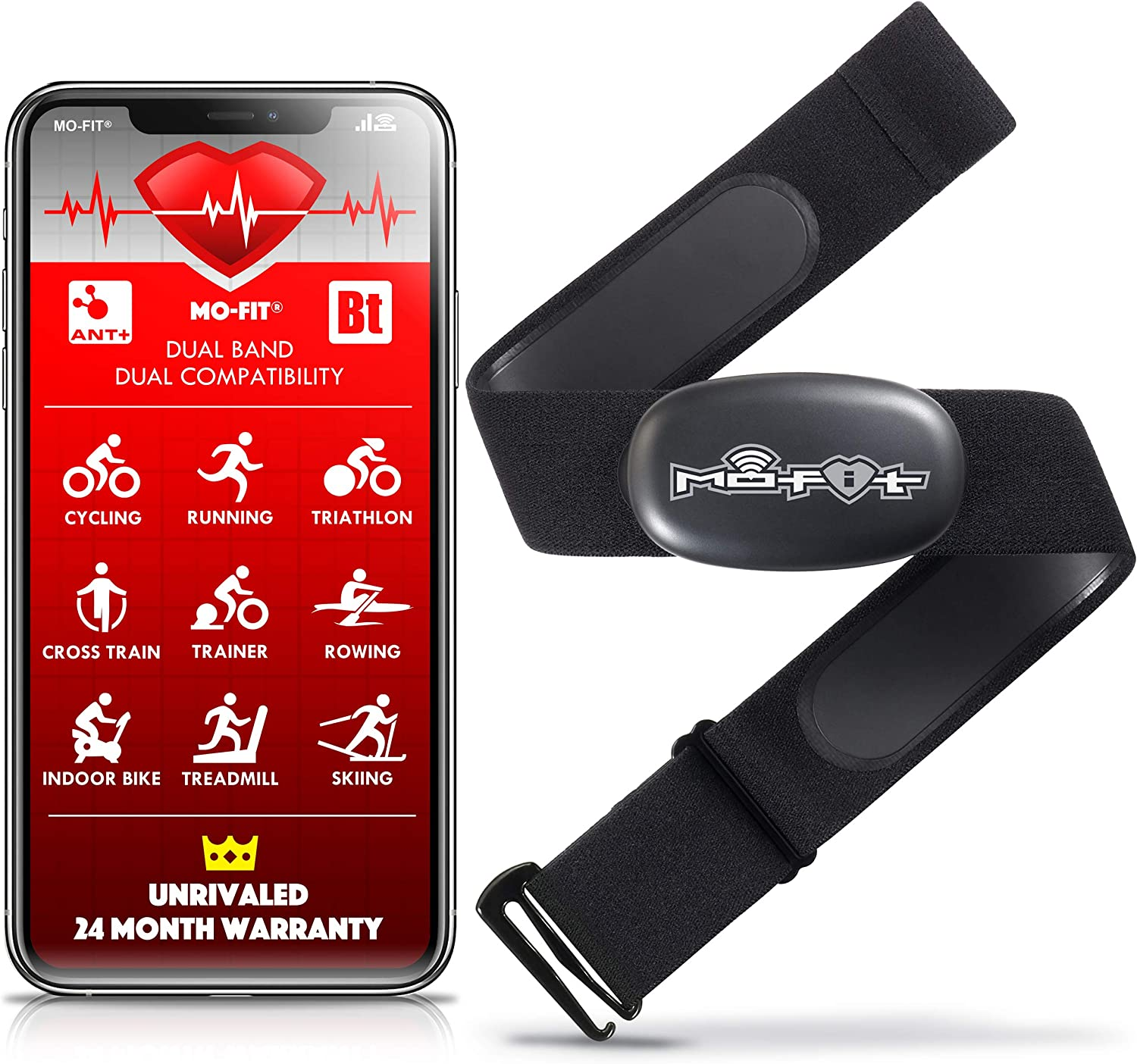 Mo-Fit Heart Rate Monitor Chest Strap for Garmin, Apple, Android, ANT+ and Most Bluetooth 4.0 Enabled Fitness Devices