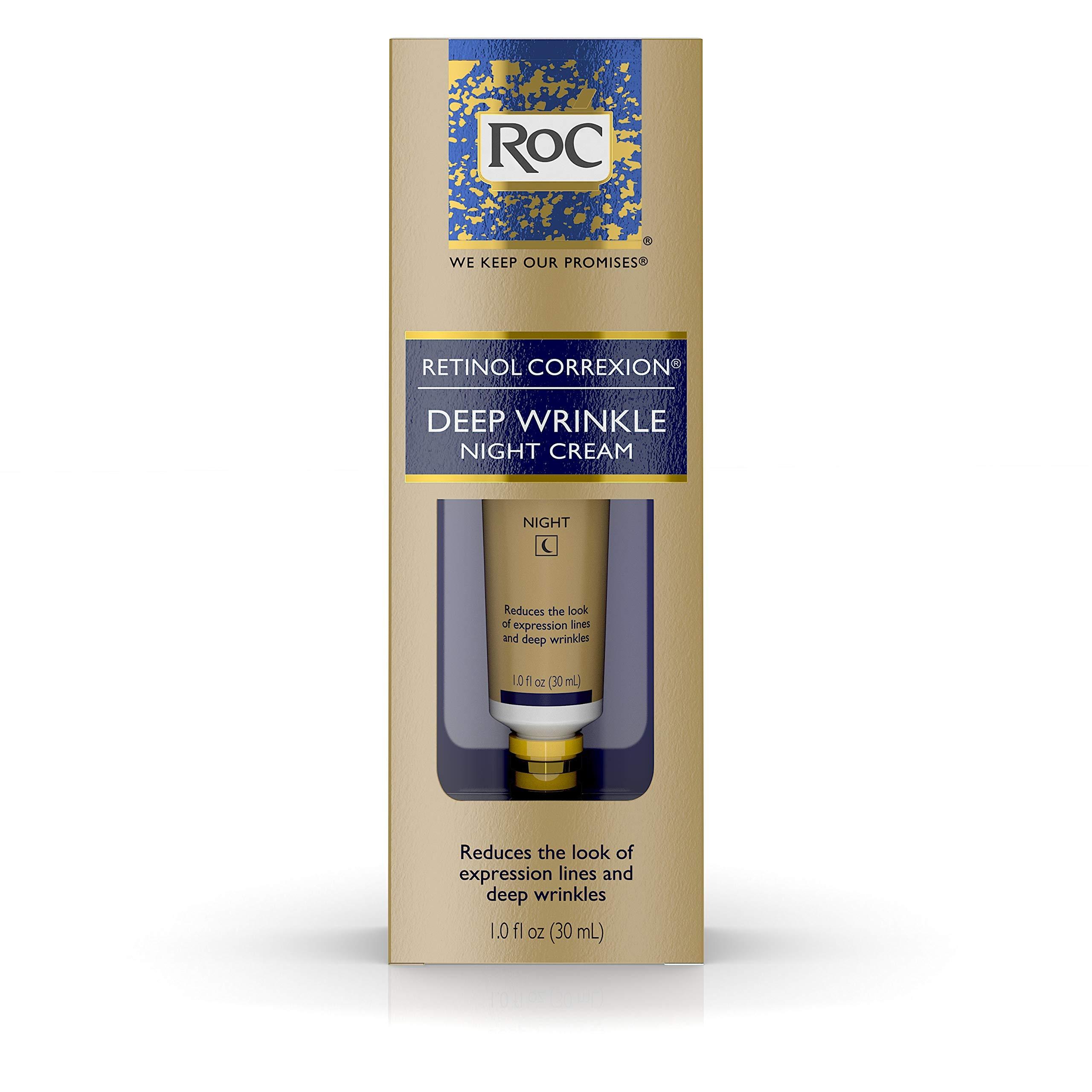 RoC Retinol Correxion Deep Wrinkle Anti-Aging Retinol Night Cream, Oil-Free and Non-Comedogenic, 1 Fl Oz by RoC