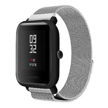 Saisiyiky Reloj de pulsera Correa de metalica de acero inoxidable Compatible con Amazfit Bip Xiaomi Huami Reloj juvenil