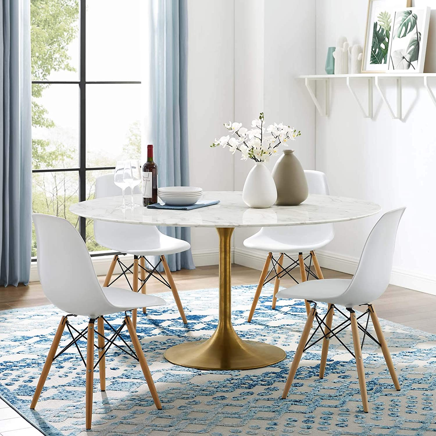 Amazon Com Modway Lippa 60 Mid Century Dining Table With Round Artificial Marble Top In Gold White Tables