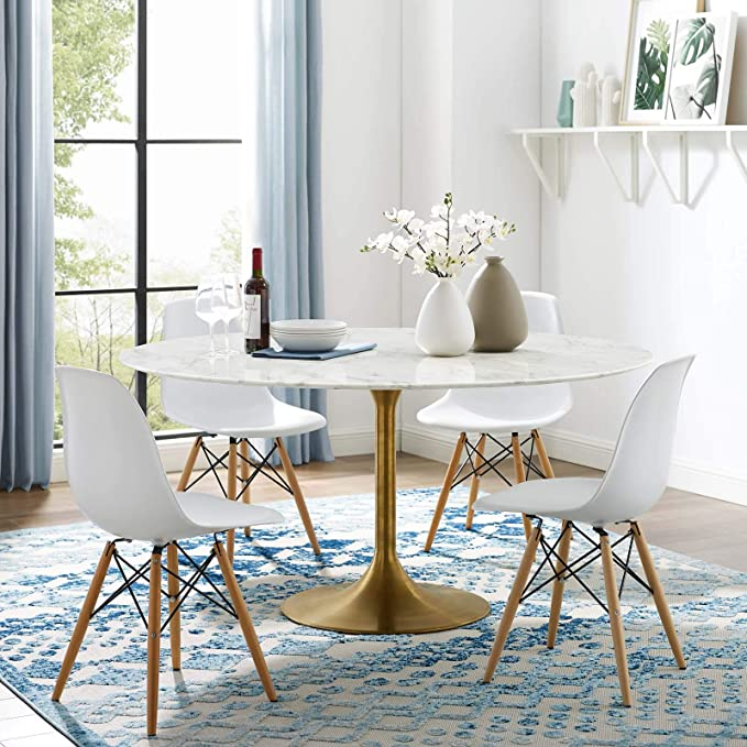 Modway Lippa 60 Mid Century Dining Table With Round Artificial Marble Top In Gold White Tables