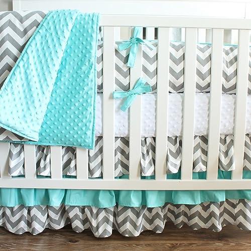 Amazon Com Gray Aqua Chevron Crib Baby Bedding 3 Tiered Crib Skirt
