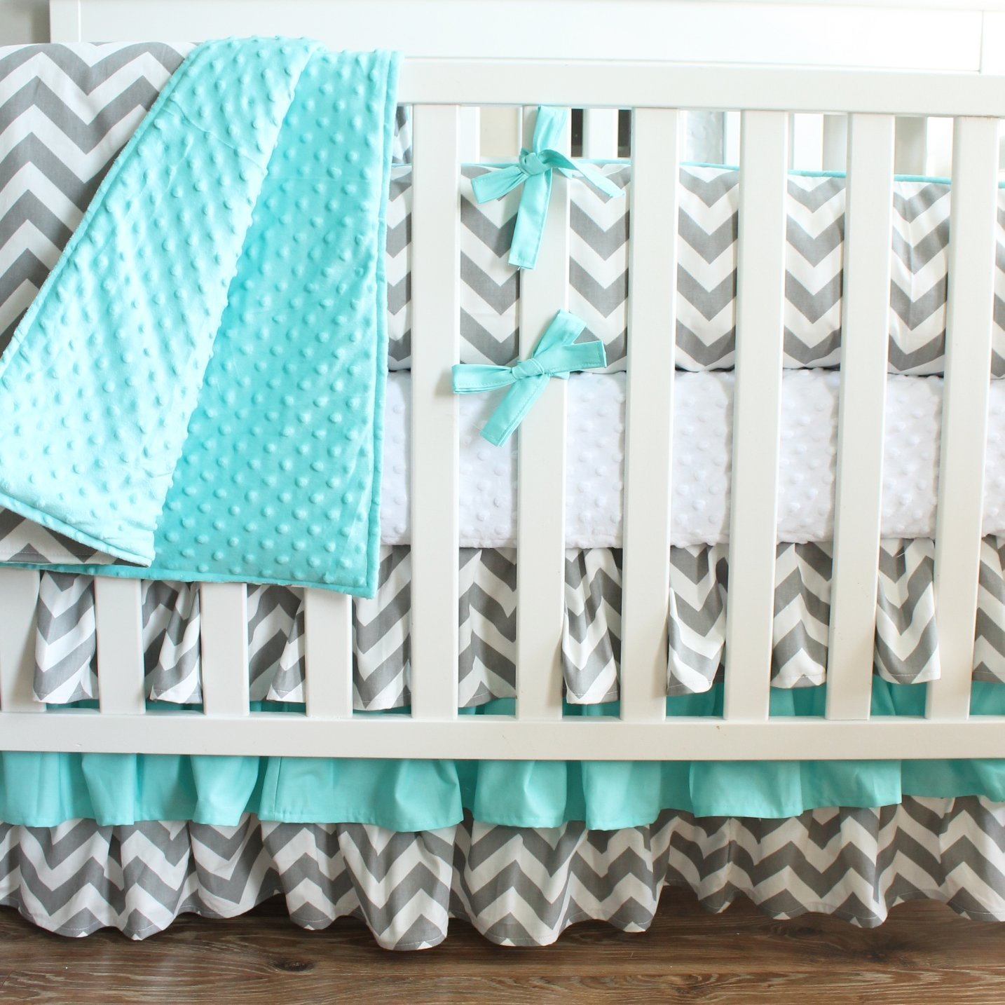 Gray Aqua Chevron Crib Baby Bedding-3 Tiered Crib Skirt