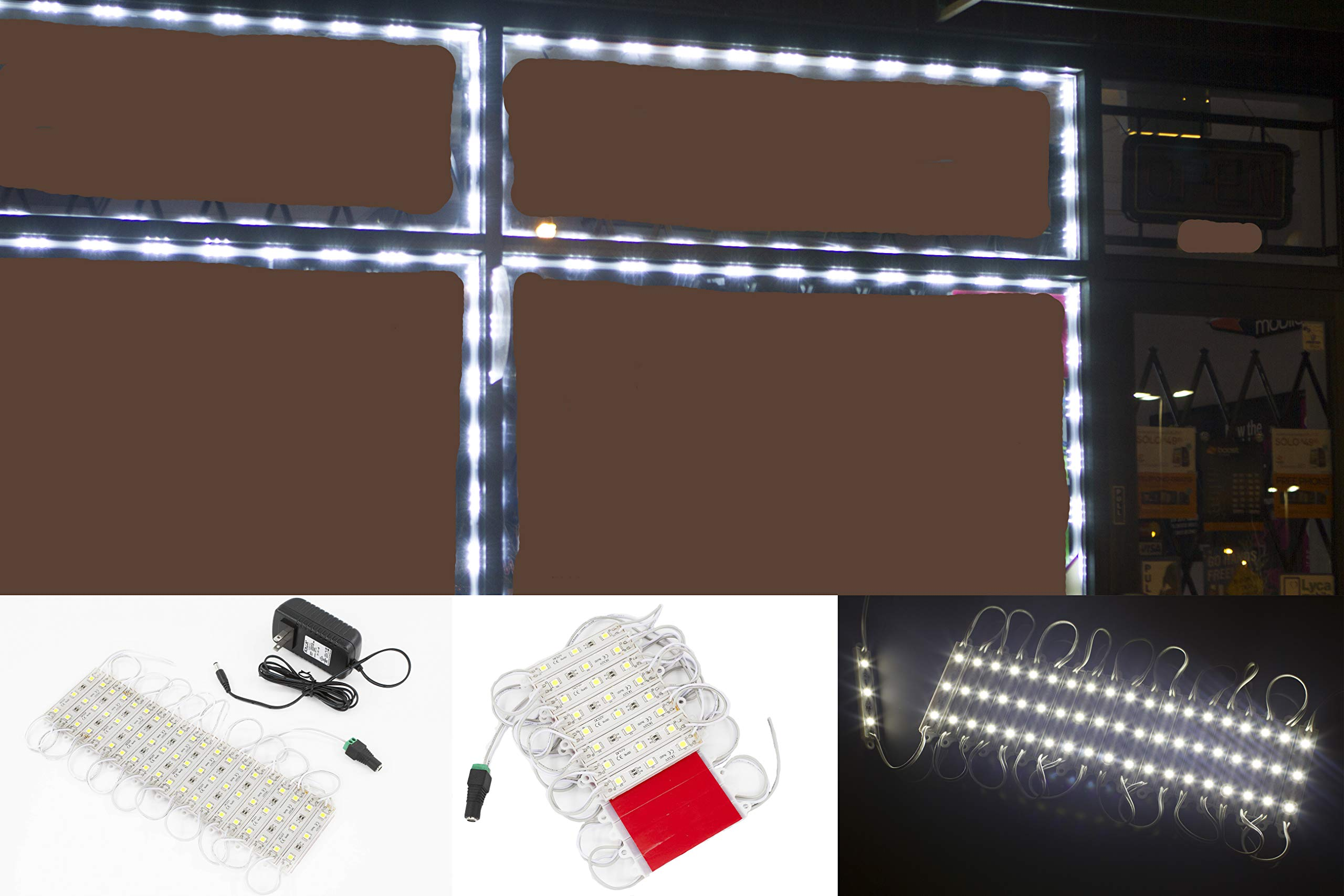 20ft Storefront 40 pieces White 5050 LED Light module Package with UL 12v 2 Amps AC Power