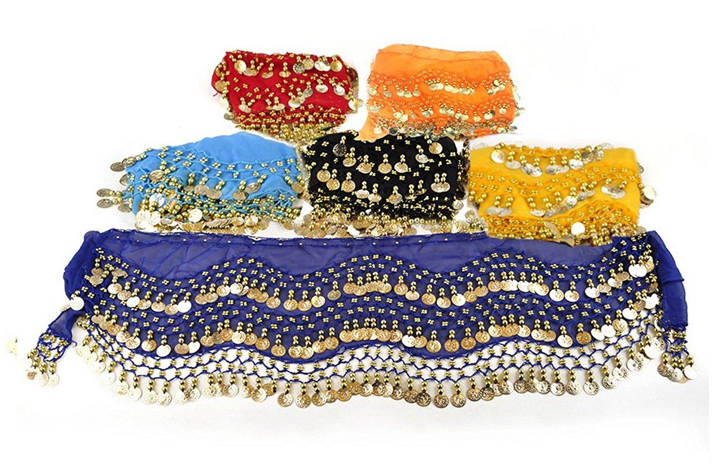 REINDEAR Wholesale Vogue Style Chiffon Dangling Gold Coins Belly Dance Hip Scarf (6 PCs)