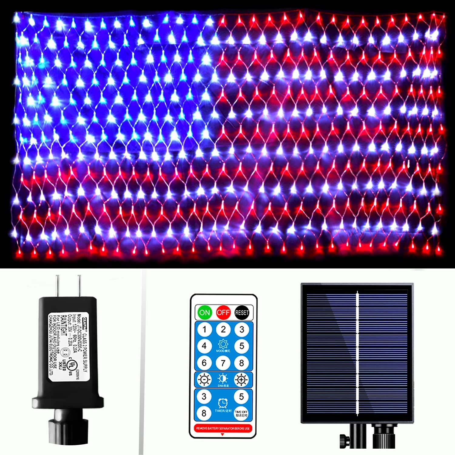 American Flag Lights Solar Outdoor, XUNXMAS 390 LED Solar & Plug in String Lights with Remote, Waterproof Flag Net Lights for Independence Day, July 4th, National Day, Memorial Day, Yard, Garden Decor