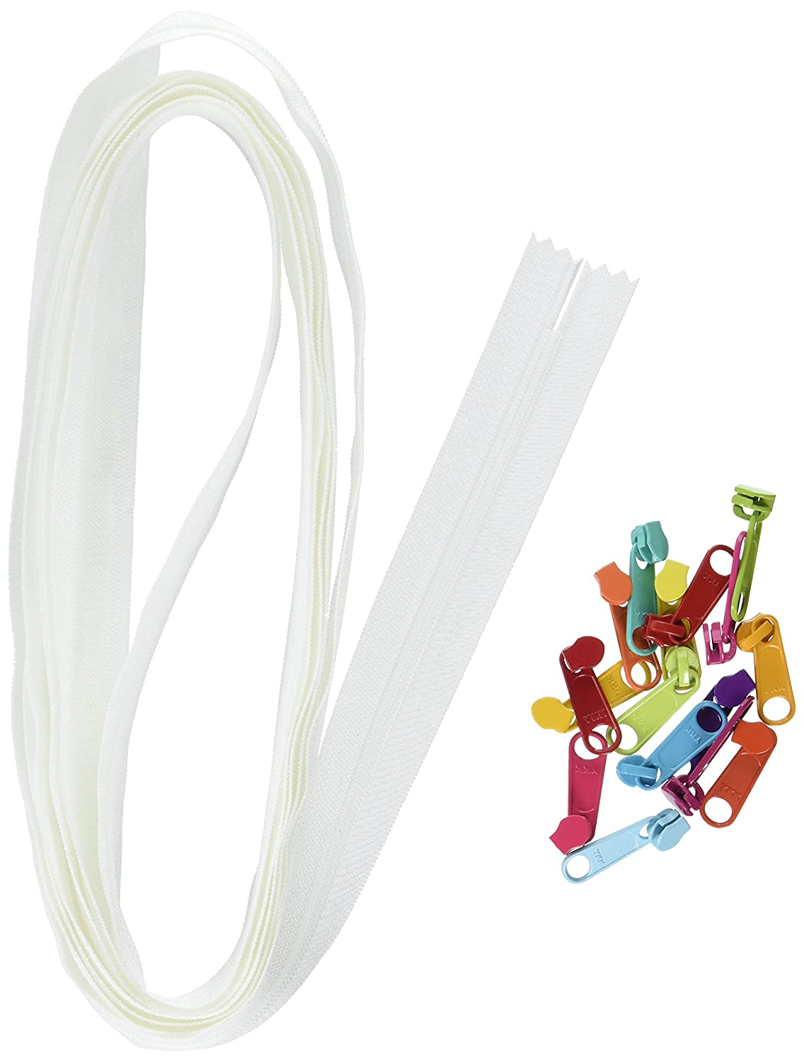 ByAnnie Zippers by Yard, White with Multicolored Pulls YKK ZIPYD-100-MULTI