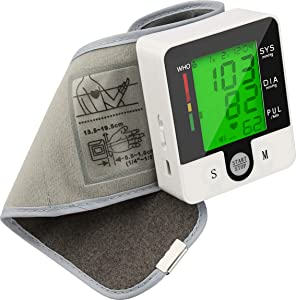 Electric Wrist Blood Pressure Monitor Digital Heart Beat Rate Pulse Meter Voice Alarm Automatic Home Blood Pressure Meter Kit Sphygmomanometers Pulsometer Medical Equipment for Health Care
