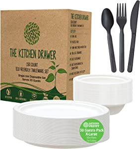 """Disposable Paper Plates and Bowls Set, Eco-Friendly Tableware, THICK Heavy Duty Paper Plates 10"""" Bagasse. Large CPLA 7"""" Biodegradable Cutlery Sets, Compostable Plates Bowls Set 4 Party, BBQ, Camping"""