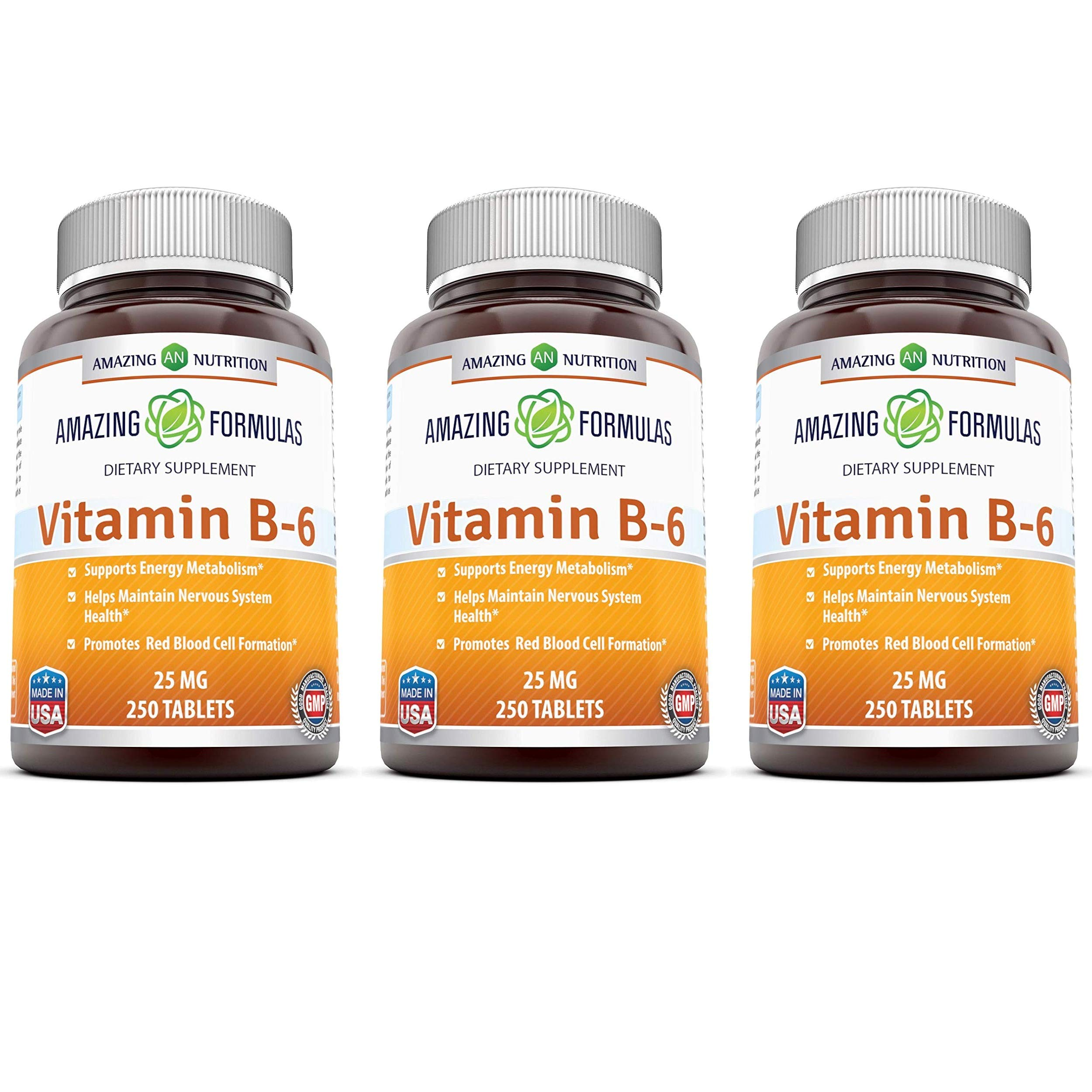 Amazing Nutrition Vitamin B6 Dietary Supplement - 25 mg, Pack of 3-250 Tablets - Supports Healthy Nervous System, Metabolism & Cell Health