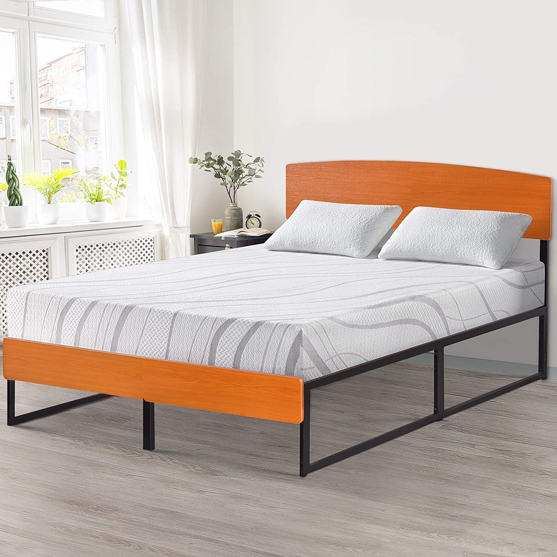 PrimaSleep Wood Platform Bed with Headboard and Footboard Underbed Storage, Full, 14 H