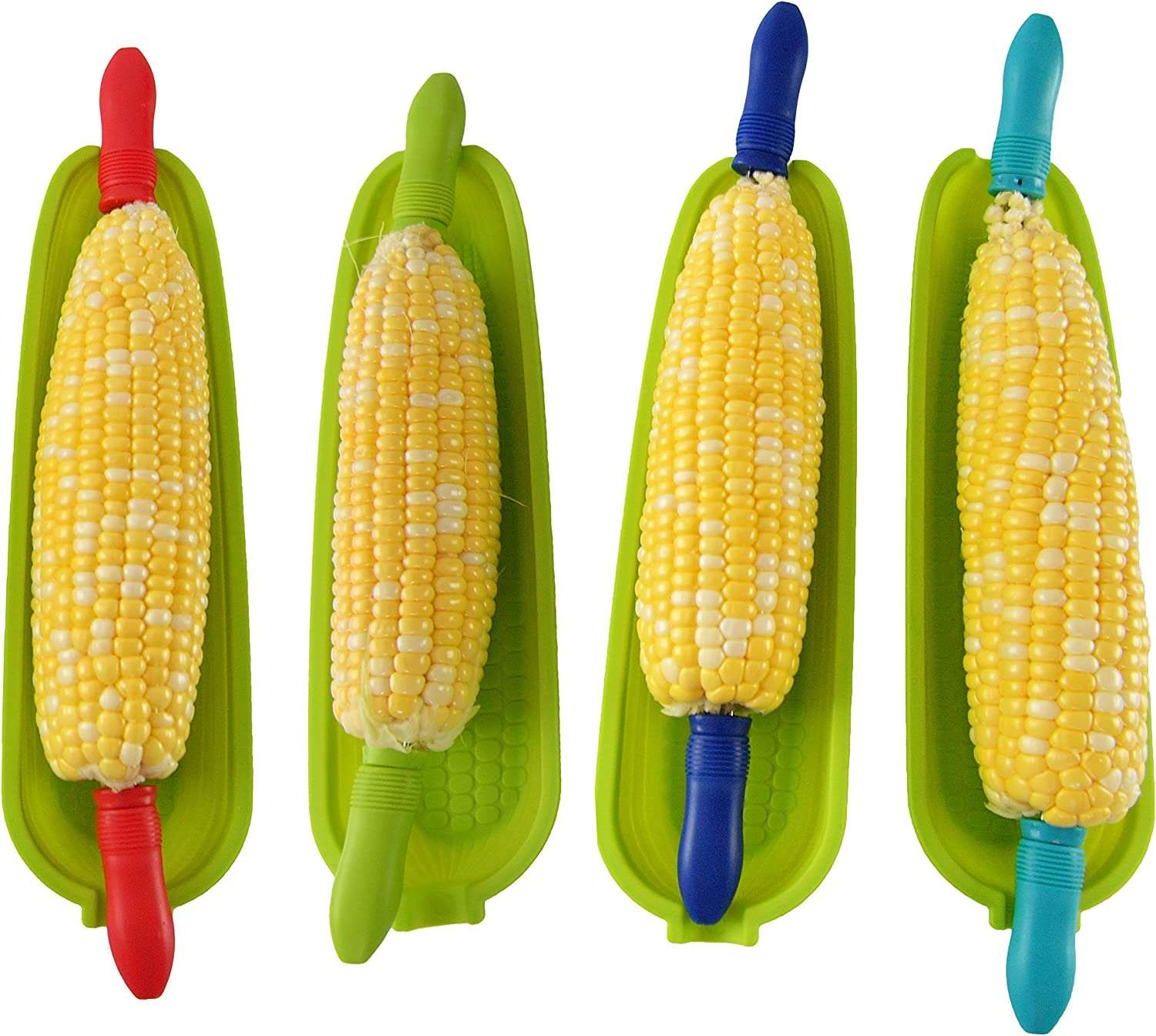 Home-X Corn Cob Holders with Dish, Cute Kitchen Gadgets, Fun BBQ Party Supplies