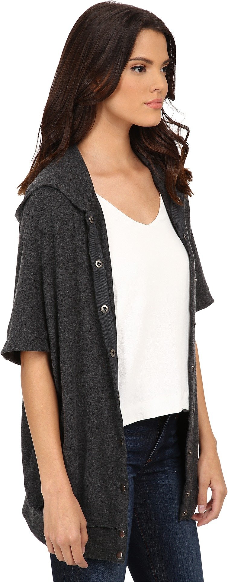 Michael Stars Women's Madison Brushed Jersey Hooded Coat Charcoal Sweater XS (US 0-2) by Michael Stars (Image #2)