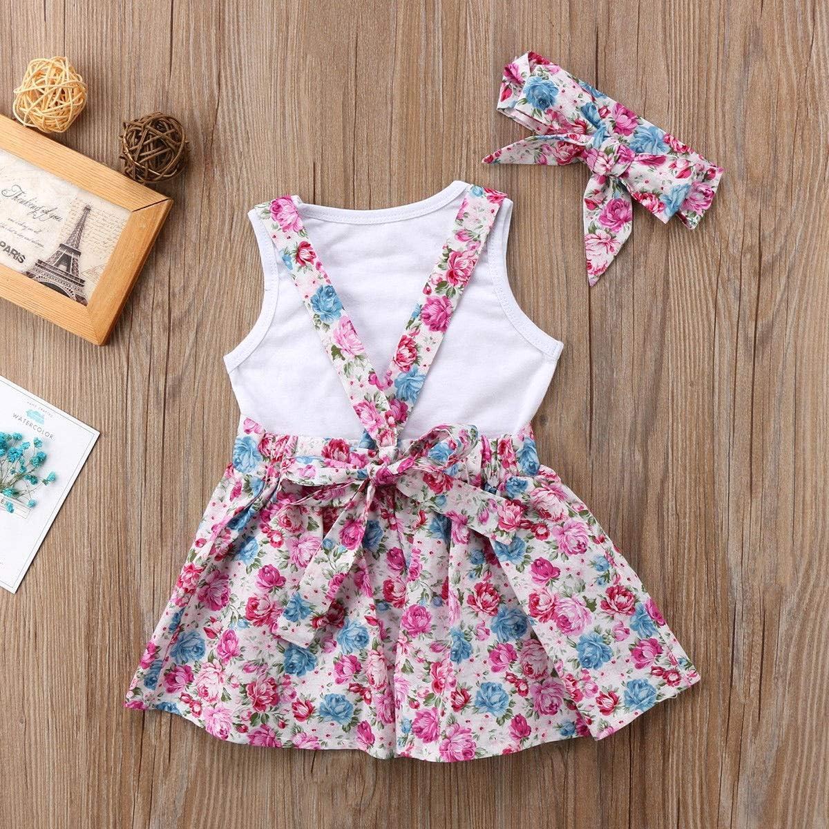 Puseky 3 st/ücke baby m/ädchen schwester passenden herz weste stirnband Color : White+Pink, Size : Big Sister-2Y-3Y floral strapsrock sommer outfits