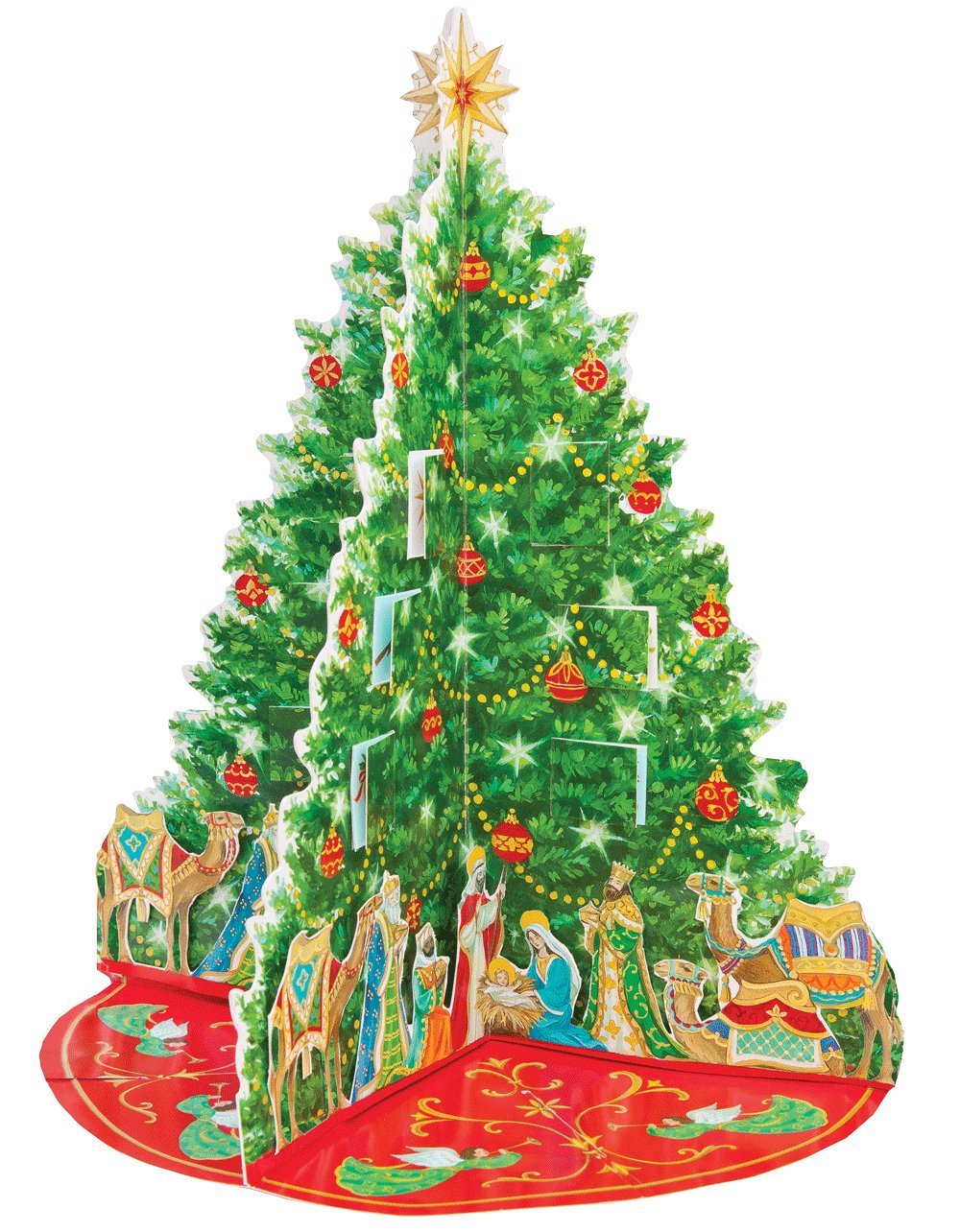 Caspari Nativity Tree Pop-Up Advent Calendar classic Christmas tree design from Caspari and designed by Janine Moore is a lovely and festive tradition for any family to celebrate the days of December leading up to Christmas