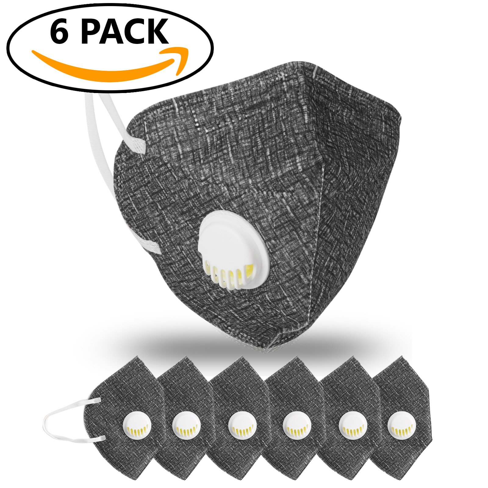 JayJay 6 Pack Dust Mouth Mask PM2.5 Non-Woven Fabric Filter Respirator with Valve,BLACK
