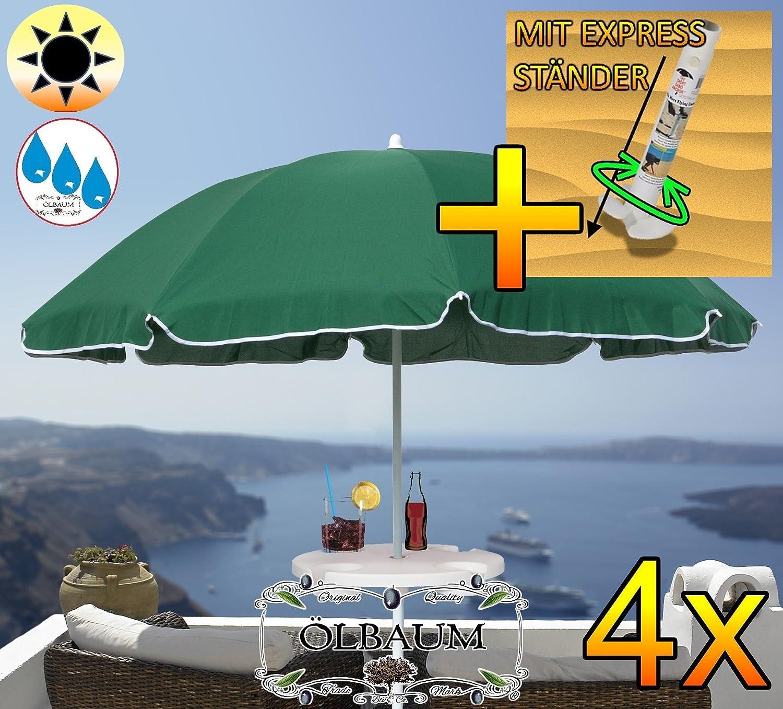 4 Stck. Großer Sonnenschirm mit Getränketisch, 180 cm / Ø 1,80 m (grün), Sonnendach Schirm, XXL Strandschirm, moosgrün, 8-teilig / 8-eckig massiv robust, Strandschirm, XXL-Klappschirm, Gartenschirm extrem wetterfest, klappbar, tragbar, seewasserfest, hochwertig robust stabil, Sonnenschutz, stabiler Schirm Klappschirm, dunkelgrün, Strandschirme, Sonnenschirme, Sonnenschirm-Tische, Regenschirm Picknickschirme, Gartenmöbel Holz
