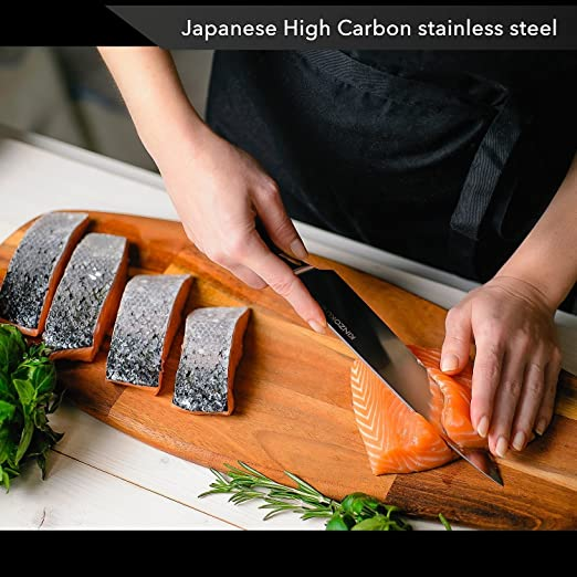 KINZOKU Professional Chef Knife 8 inch - Japanese Stainless Steel - Sharp Blade and Rust-Free Chopping Knife - Pakka Handle - Kitchen Knife and Odor ...