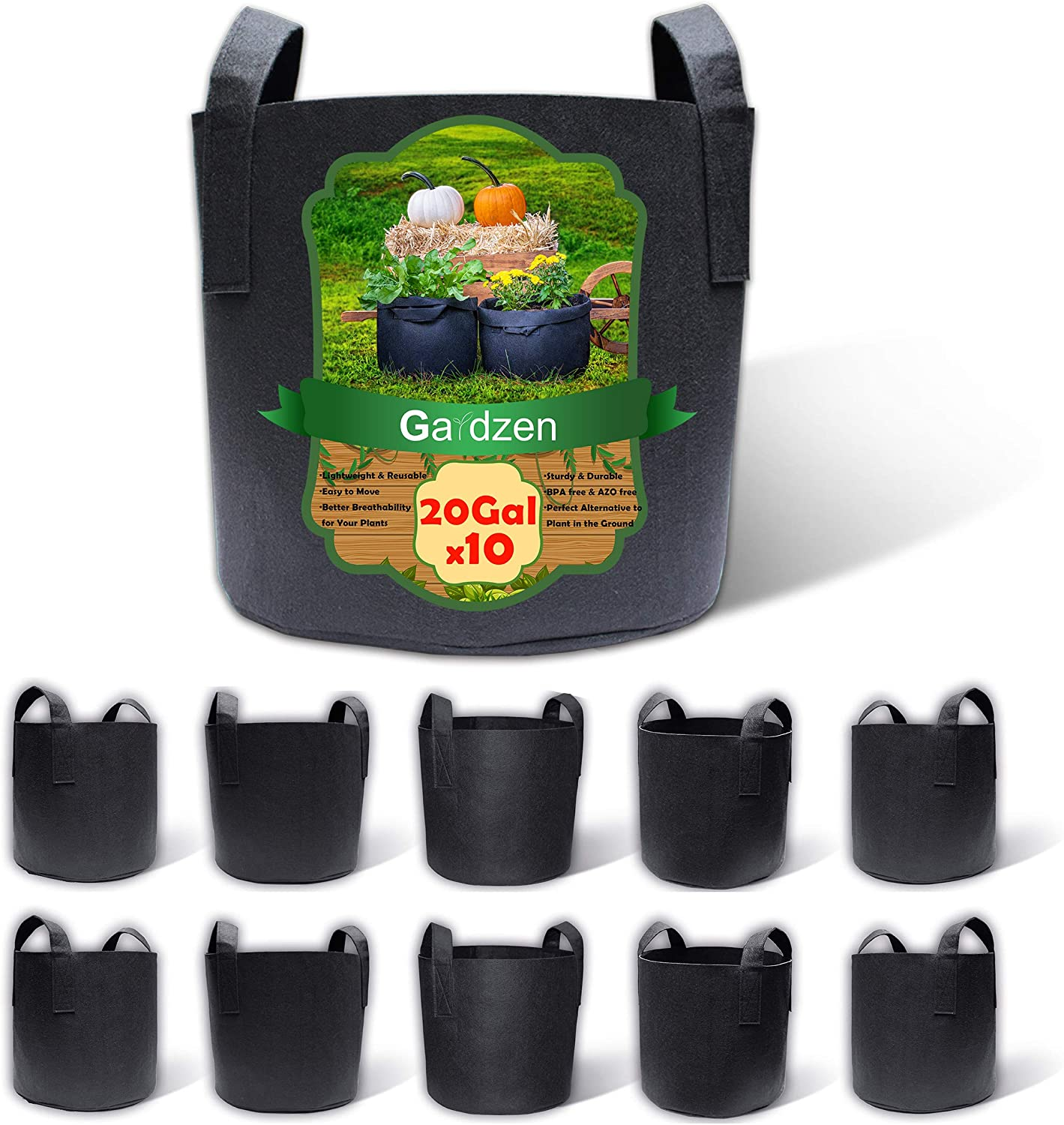 Gardzen 10-Pack 20 Gallon Grow Bags, Aeration Fabric Pots with Handles