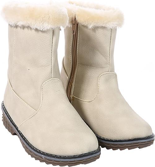 Kids Girls Boots Faux Fur Lined Pom