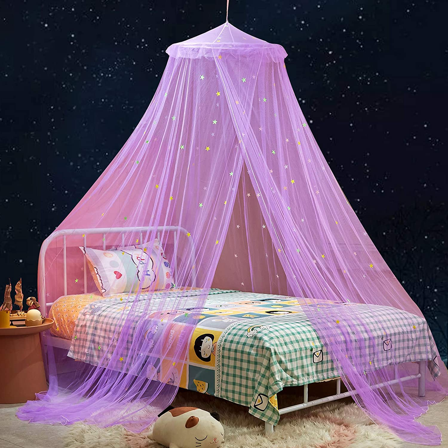 Mengersi Canopy Bed Curtains with Fluorescent Stars Glow for Girls Kids,Bed Canopies Drapes Mosquito Net for Baby Crib,Girls,Boys Or Twin Full Queen Size Bed (Purple)