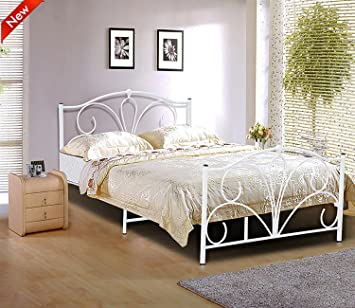 Popamazing Queen Size Double Bed Frame 4ft6 Classic Gothic Victorian Ivory White Metal
