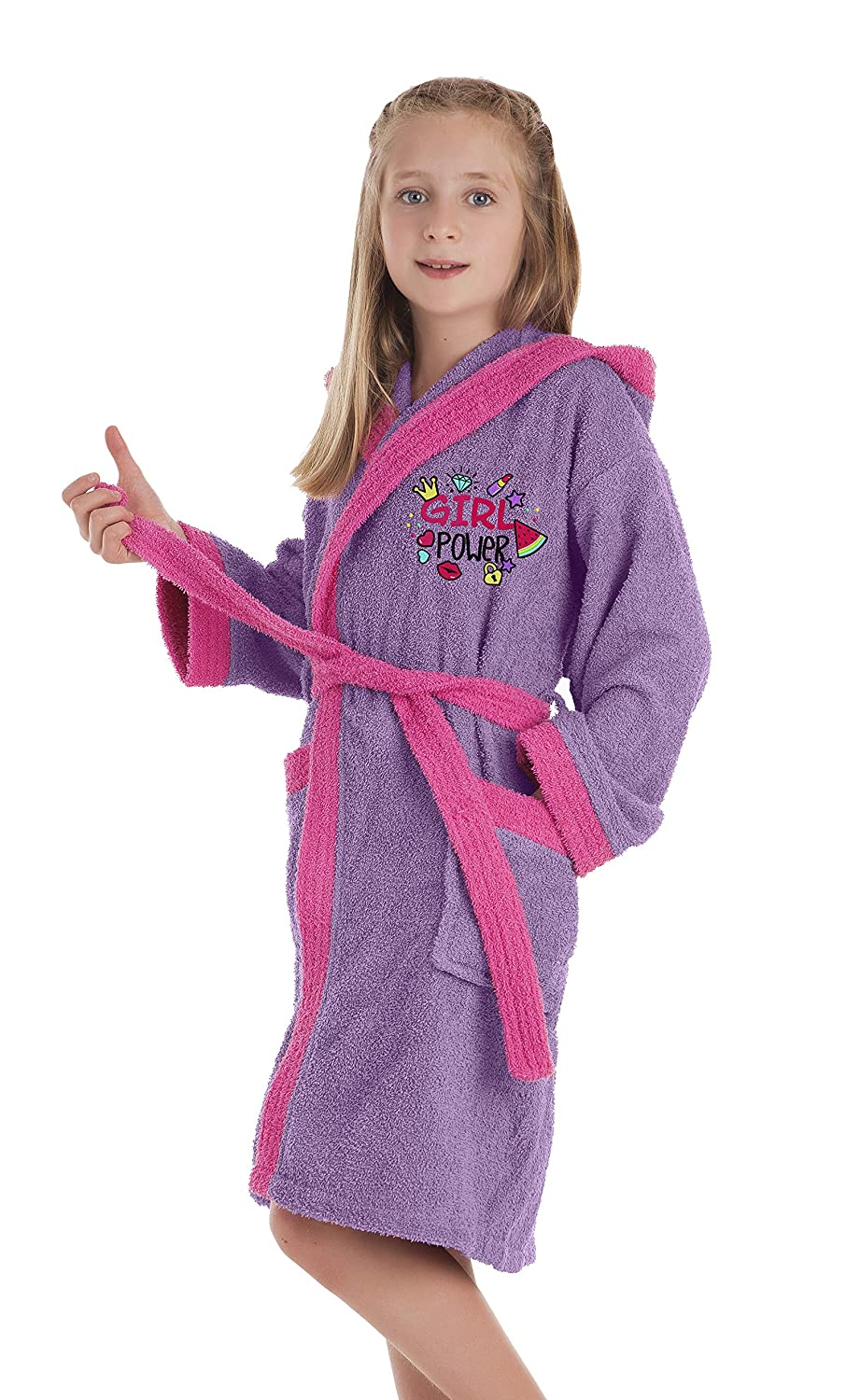 Secaneta Children's Dressing Gown Girl's Bathrobe with Embroidered Designs Unicorn 14 años / 14 years old José Albero Puerto S.L.