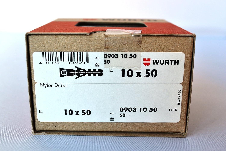 Würth tacos de nailon (10 x 50 mm (50 unidades/Pack): Amazon.es: Bricolaje y herramientas