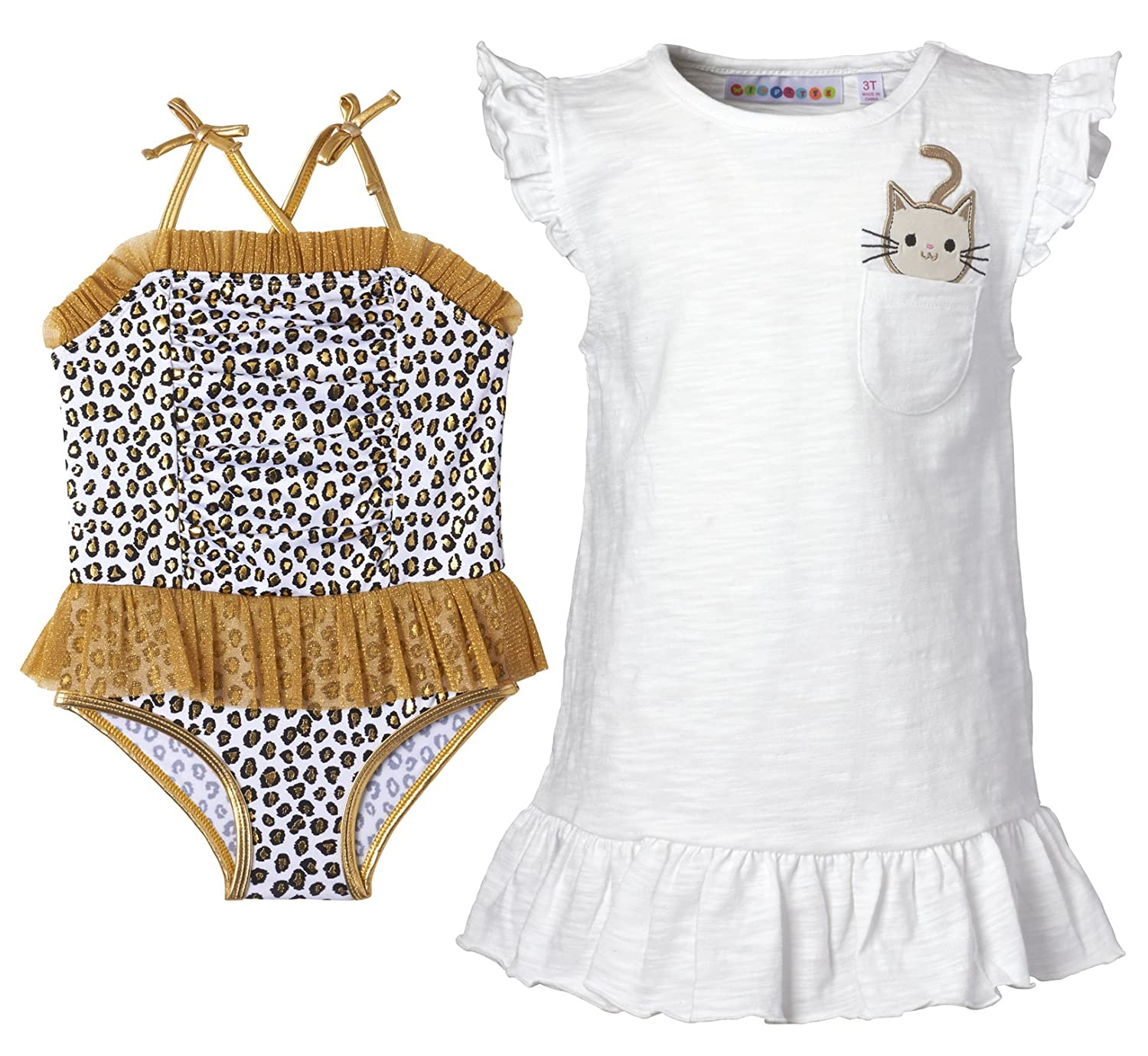 Wippette Infant Girl Swimwear, Toddler Girl 2-PC Swimwear Set, Swimsuit and Coverup Dress
