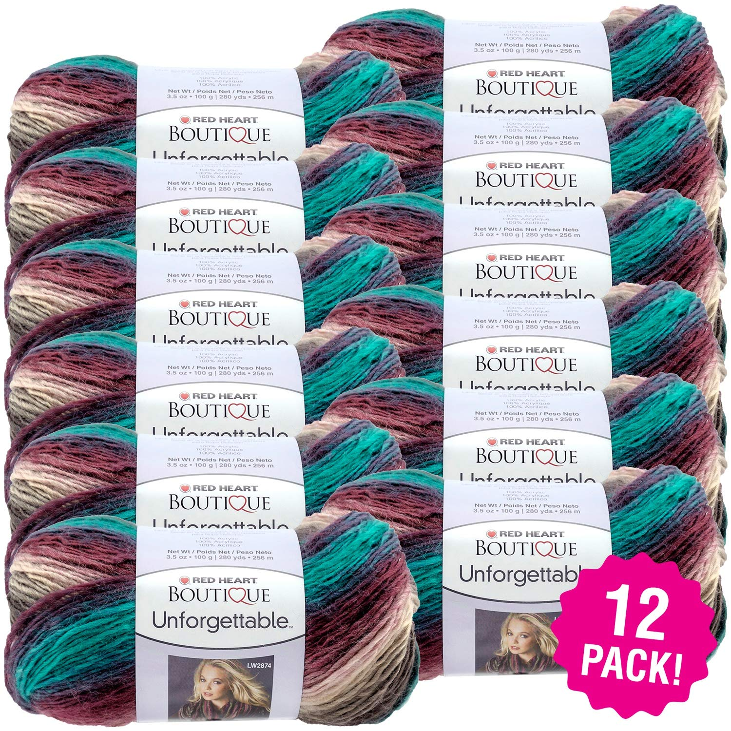 Red Heart 99470 Boutique Unforgettable Yarn 12/Pk-Tealberry, Pack