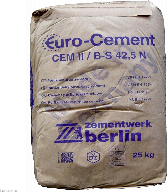 25Kg Zement CEMII//B-S 42,5 N zum Betonieren Mauern Putzen und Herstellung von M/örtel und Beton