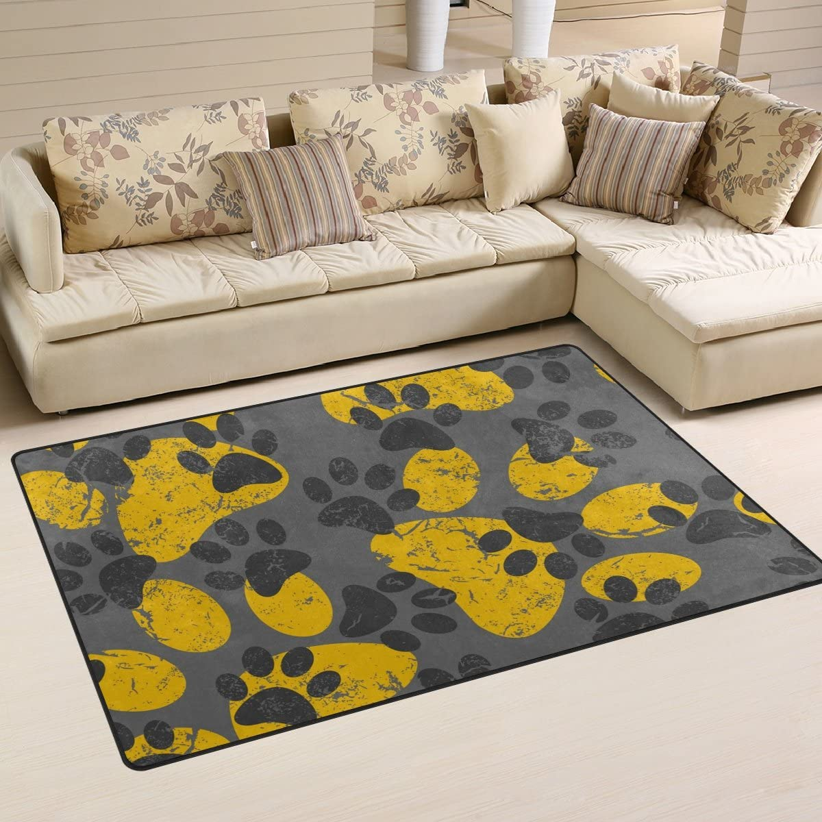 Sunlome Cat Dog Gray Yellow Paws Footprints Area Rug Rugs Non-Slip Indoor Outdoor Floor Mat Doormats for Home Decor 31 x 20 inches