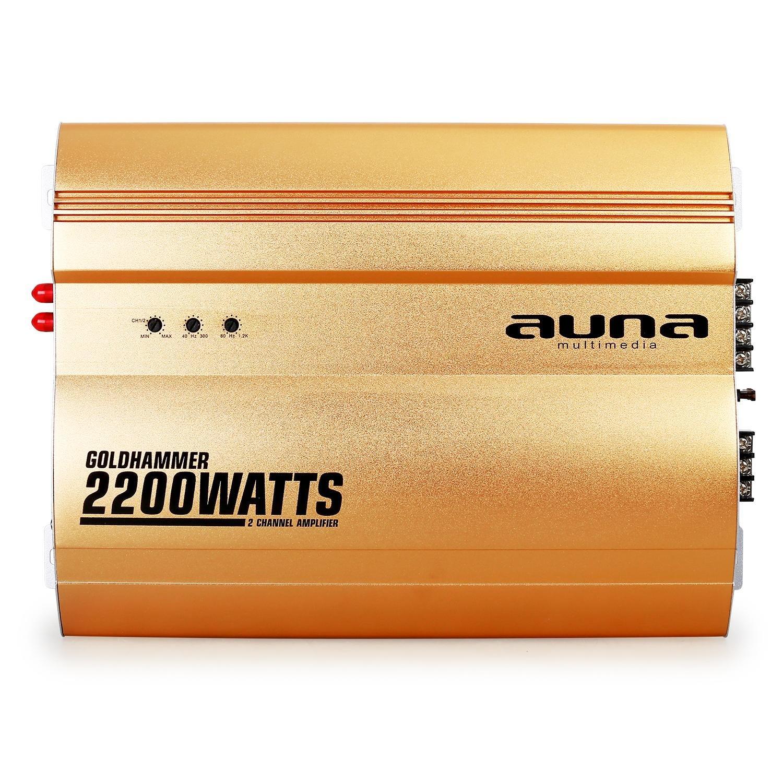 /& Tiefpassfilter /• br/ückbar /• 4//3//2-Kanal Betrieb /• Gold /• Hoch auna Goldhammer /• Car HiFi Verst/ärker /• 4-Kanal Auto-Endstufe /• Car Amplifier /• 4400 Watt max
