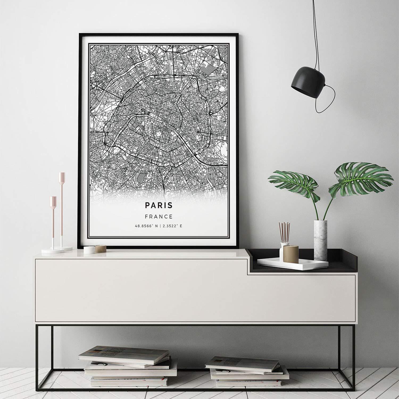 MalertaART Paris map print Scandinavian wall art poster City maps Artwork France gifts Poster Minimalistic M521 Framed Wall Art