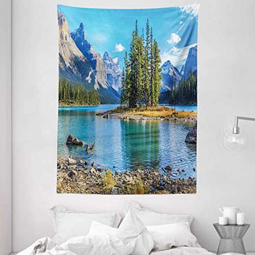 Ambesonne Mountain Tapestry, Scenery of Spirit Island and Maligne Lake Canada in Summer Mountains, Wall Hanging for Bedroom Living Room Dorm, 60 X 80 , Blue Green