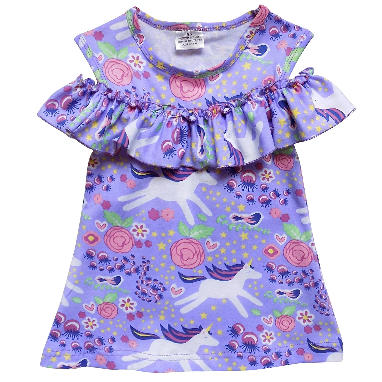 9954c0882f100 Stretch cotton dress with off the shoulder ruffle trim. Cute trendy look  that little girls love! Perfect for spring and summer parties and pictures,  ...